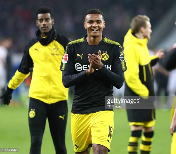 Manuel Akanji of Dortmund celebrates after winning the Bundesliga match between 1 FC Koeln and Borussia Dortmund at RheinEnergieStadion on February 2...