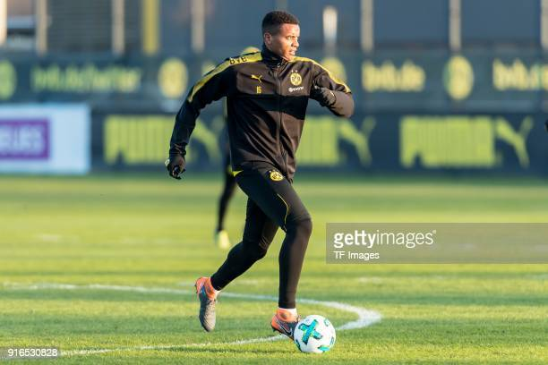 Manuel Akanji of Dortmund controls the ball during a training session at BVB trainings center on February 05 2018 in Dortmund Germany