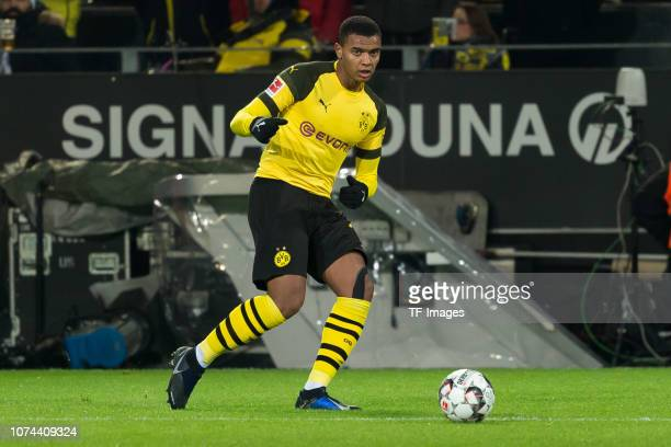 Manuel Akanji of Dortmund controls the ball during the Bundesliga match between Borussia Dortmund and SV Werder Bremen at the Signal Iduna Park on...