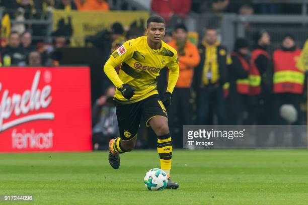 Manuel Akanji of Dortmund controls the ball during the Bundesliga match between Borussia Dortmund and Hamburger SV at Signal Iduna Park on February...