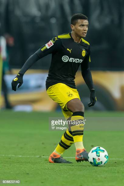Manuel Akanji of Dortmund controls the ball during the Bundesliga match between RB Leipzig and Borussia Dortmund at Red Bull Arena on March 3 2018 in...