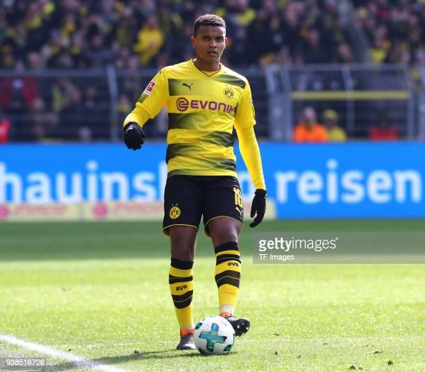 Manuel Akanji of Dortmund controls the ball during the Bundesliga match between Borussia Dortmund and Hannover 96 at Signal Iduna Park on March 18...