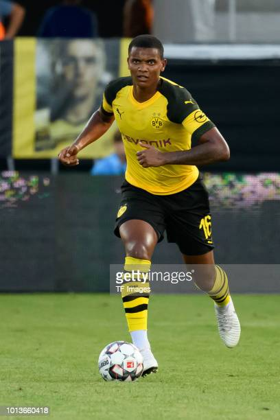Manuel Akanji of Dortmund controls the ball during the friendly match between Borussia Dortmund and Stade Rennais at Cashpoint Arena on August 3 2018...
