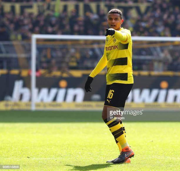 Manuel Akanji of Dortmund gestures during the Bundesliga match between Borussia Dortmund and Hannover 96 at Signal Iduna Park on March 18 2018 in...