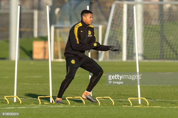 Manuel Akanji of Dortmund in action during a training session at BVB trainings center on February 05 2018 in Dortmund Germany