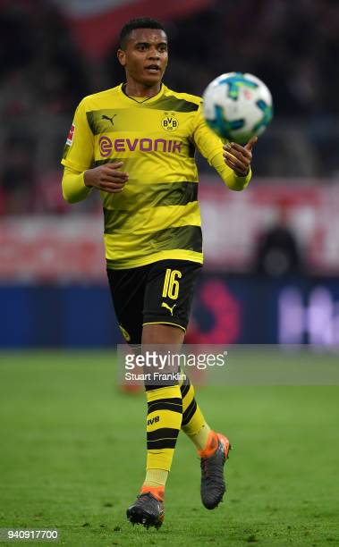 Manuel Akanji of Dortmund in action during the Bundesliga match between FC Bayern Muenchen and Borussia Dortmund at Allianz Arena on March 31 2018 in...