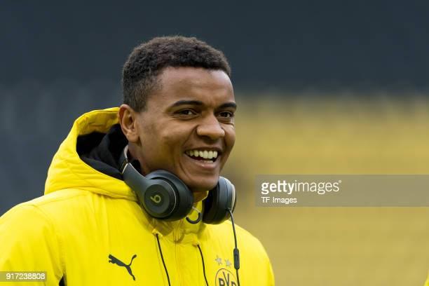 Manuel Akanji of Dortmund laughs during the Bundesliga match between Borussia Dortmund and Hamburger SV at Signal Iduna Park on February 10 2018 in...