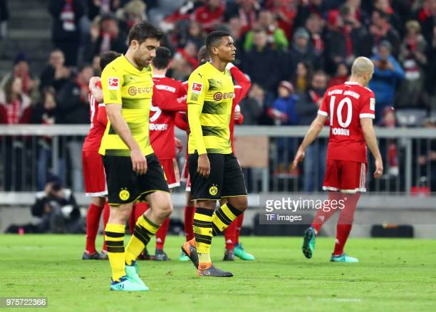 Manuel Akanji of Dortmund looks dejected during the Bundesliga match between FC Bayern Muenchen and Borussia Dortmund at Allianz Arena on March 31...