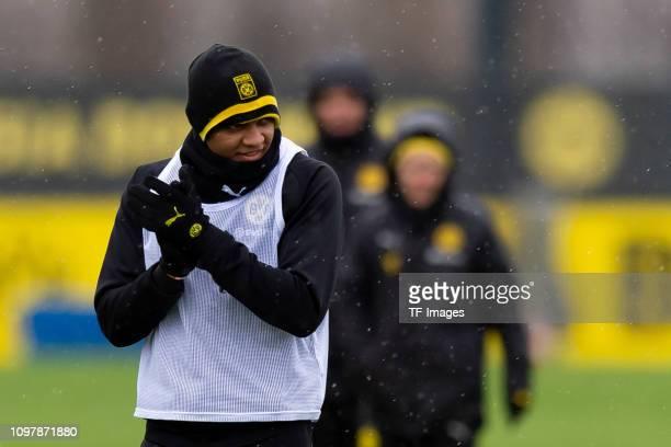 Manuel Akanji of Dortmund looks on during a training session at the Borussia Dortmund training center on February 10 2019 in Dortmund Germany