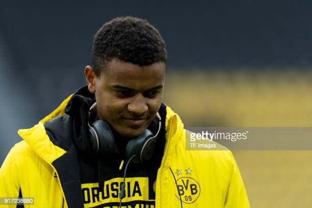 Manuel Akanji of Dortmund looks on during the Bundesliga match between Borussia Dortmund and Hamburger SV at Signal Iduna Park on February 10 2018 in...