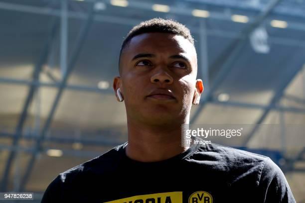 Manuel Akanji of Dortmund looks on prior to the Bundesliga match between FC Schalke 04 and Borussia Dortmund at VeltinsArena on April 15 2018 in...