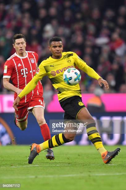 Manuel Akanji of Dortmund plays the ball during the Bundesliga match between FC Bayern Muenchen and Borussia Dortmund at Allianz Arena on March 31...