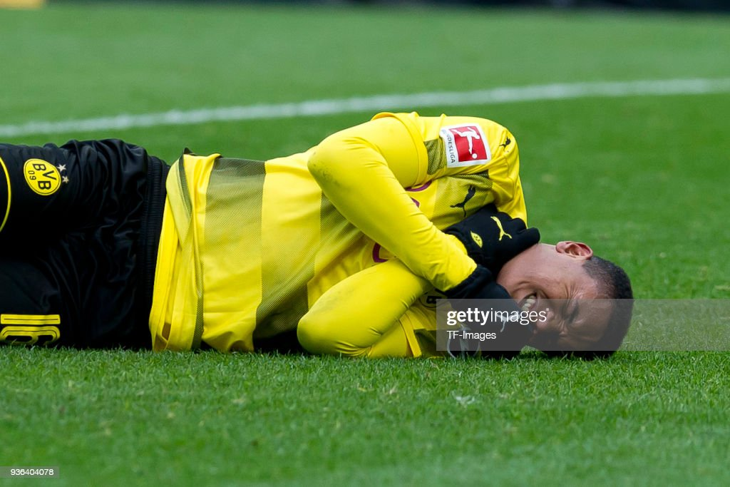 Manuel Akanji of Dortmund reacts on the ground during the Bundesliga match between Borussia Dortmund and Hannover 96 at Signal Iduna Park on March 18, 2018 in Dortmund, Germany.