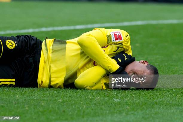 Manuel Akanji of Dortmund reacts on the ground during the Bundesliga match between Borussia Dortmund and Hannover 96 at Signal Iduna Park on March 18...
