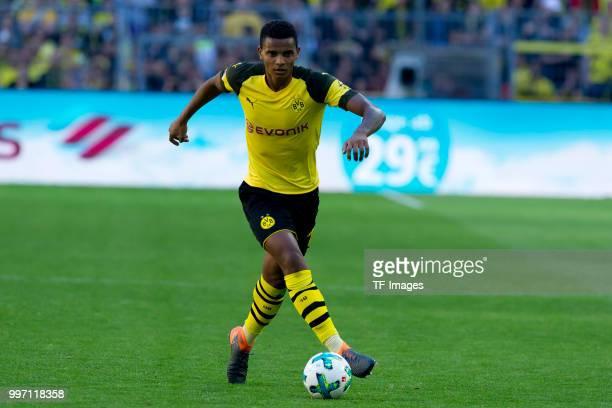 Manuel Akanji of Dortmund runs with the ball during the Bundesliga match between Borussia Dortmund and 1 FSV Mainz 05 at Signal Iduna Park on May 5...