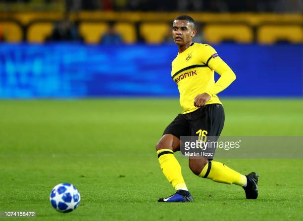 Manuel Akanji of Dortmund runs with the ball during the Group A match of the UEFA Champions League between Borussia Dortmund and Club Brugge at...