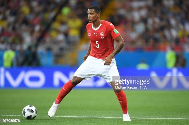 Manuel Akanji of Switzerland controls the ball during the 2018 FIFA World Cup Russia group E match between Brazil and Switzerland at Rostov Arena on...