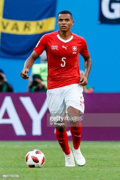 Manuel Akanji of Switzerland controls the ball during the 2018 FIFA World Cup Russia Round of 16 match between Sweden and Switzerland at Saint...