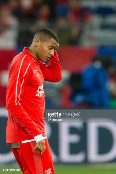 Manuel Akanji of Switzerland gestures prior to the 2020 UEFA European Championships group D qualifying match between Switzerland and Denmark at St...