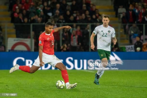 Manuel Akanji of Switzerland in action during the UEFA Euro 2020 qualifier between Switzerland and Republic of Ireland on October 15 2019 in Geneva...