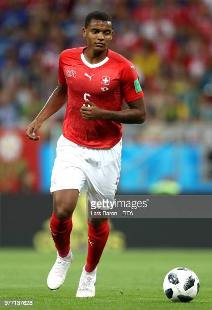 Manuel Akanji of Switzerland in actionduring the 2018 FIFA World Cup Russia group E match between Brazil and Switzerland at Rostov Arena on June 17...