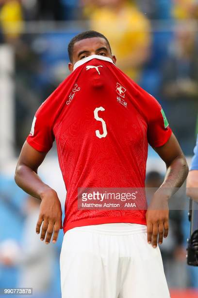 Manuel Akanji of Switzerland looks dejected at the end of the 2018 FIFA World Cup Russia Round of 16 match between Sweden and Switzerland at Saint...