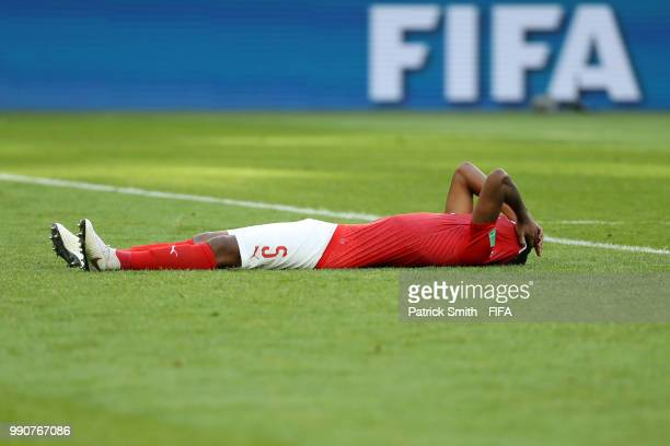 Manuel Akanji of Switzerland looks dejected following his sides defeat in the 2018 FIFA World Cup Russia Round of 16 match between Sweden and...