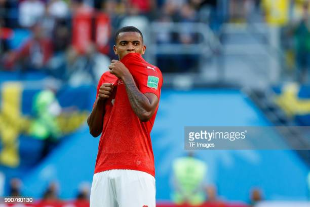 Manuel Akanji of Switzerland looks on during the 2018 FIFA World Cup Russia Round of 16 match between Sweden and Switzerland at Saint Petersburg...