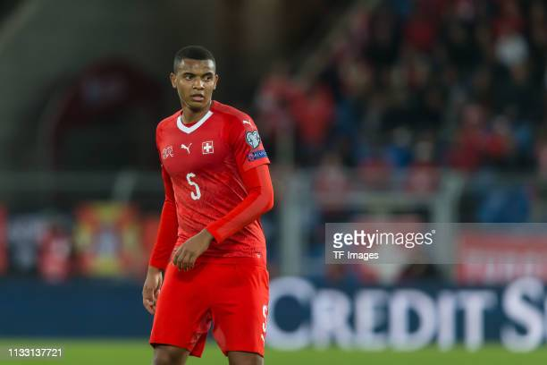 Manuel Akanji of Switzerland looks on during the 2020 UEFA European Championships group D qualifying match between Switzerland and Denmark at St...