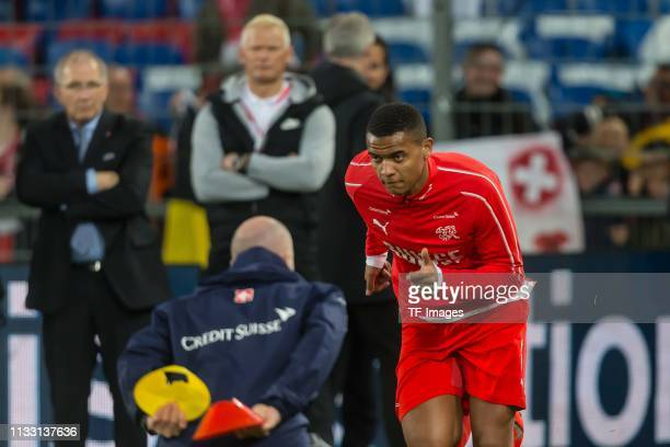 Manuel Akanji of Switzerland looks on prior to the 2020 UEFA European Championships group D qualifying match between Switzerland and Denmark at St...