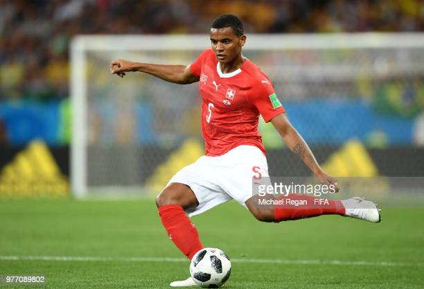 Manuel Akanji of Switzerland passes the ball during the 2018 FIFA World Cup Russia group E match between Brazil and Switzerland at Rostov Arena on...