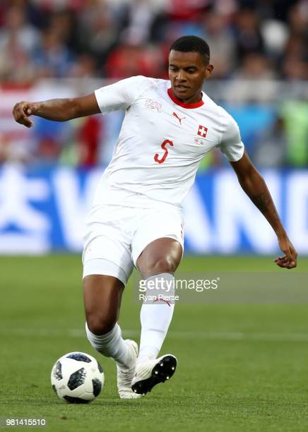 Manuel Akanji of Switzerland passes the ball during the 2018 FIFA World Cup Russia group E match between Serbia and Switzerland at Kaliningrad...