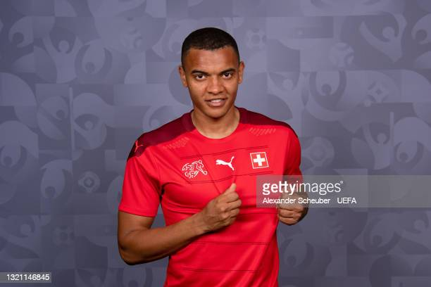 Manuel Akanji of Switzerland poses during the official UEFA Euro 2020 media access day on May 29, 2021 in Bad Ragaz, Switzerland.