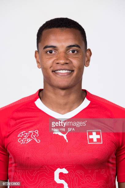 Manuel Akanji of Switzerland poses for a portrait during the official FIFA World Cup 2018 portrait session at the Lada Resort on June 12 2018 in...
