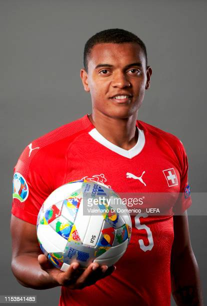 Manuel Akanji of Switzerland poses for a portrait during the UEFA Nations League Finals Portrait Shoot on June 02 2019 in Zurich Switzerland