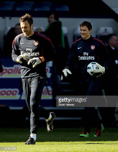 Manuel Almunia and Jens Lehmann of Arsenal during the Barclays Premier League match between West Bromwich Albion and Arsenal at The Hawthorns on...
