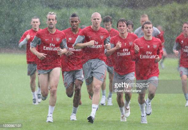 Manuel Almunia, Kyle Bartley, Philippe Senderos, Tomas Rosicky and Jack Wilshere of Arsenal during an Arsenal Training Session on July 7, 2009 in St....