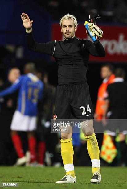 Manuel Almunia of Arsenal acknowledges the fans after the Barclays Premier League match between Portsmouth and Arsenal at Fratton Park on December 26...
