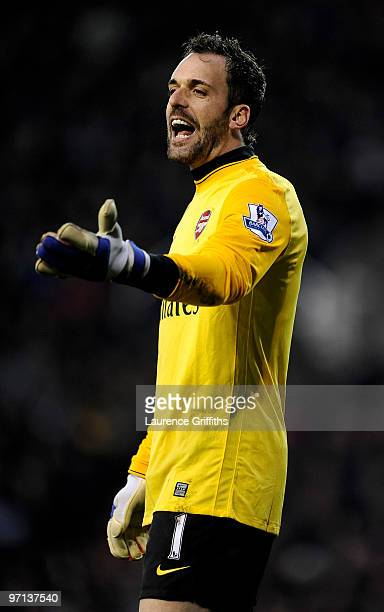 Manuel Almunia of Arsenal gestures during the Barclays Premier League match between Stoke City and Arsenal at The Britannia Stadium on February 27,...