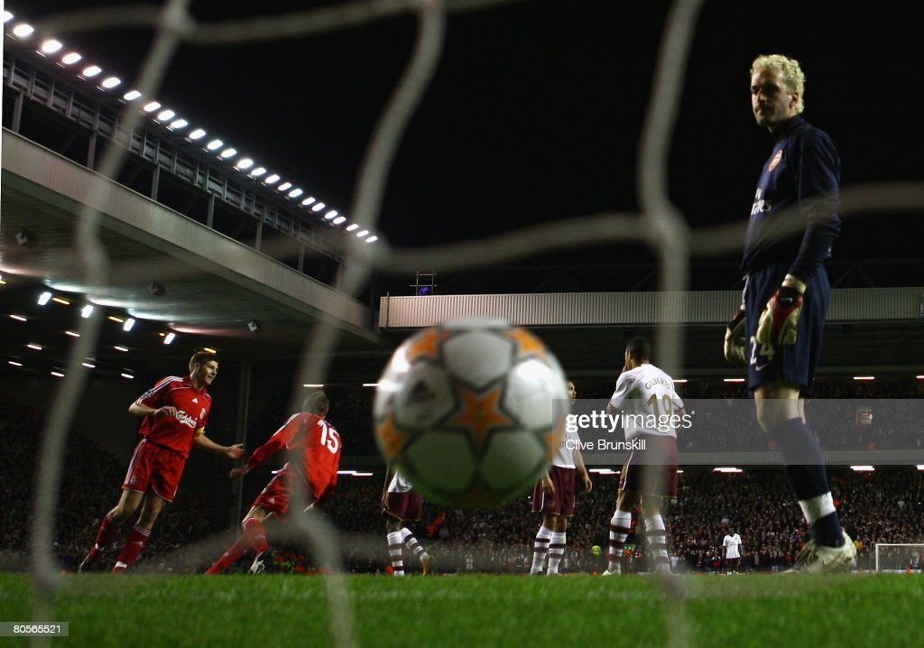 Manuel Almunia of Arsenal looks dejectedly at the ball after Fernando Torres of Liverpool scored his team's second goal during the UEFA Champions League Quarter Final, second leg match between Liverpool and Arsenal at Anfield on April 8, 2008 in Liverpool, England.