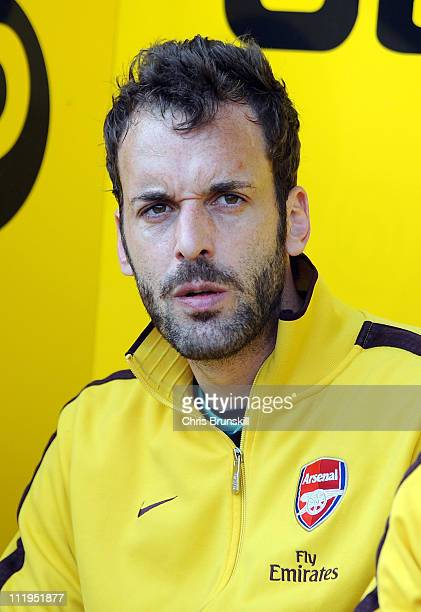 Manuel Almunia of Arsenal looks on from the substitute's bench during the Barclays Premier League match between Blackpool and Arsenal at Bloomfield...