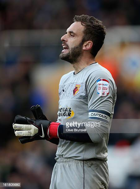Manuel Almunia of Watford in action during the npower Championship match between Birmingham City and Watford at St Andrews on February 16, 2013 in...