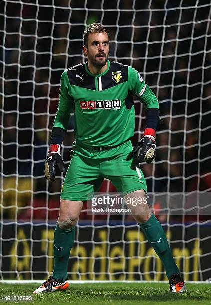 Manuel Almunia of Watford in action during the Sky Bet Championship match between Watford and Reading at Vicarage Road on January 11, 2014 in...