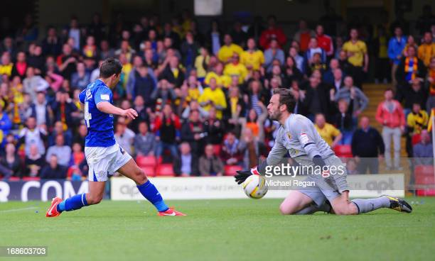 Manuel Almunia of Watford saves from Anthony Knockaert of Leicester during the npower Championship Play Off Semi Final: Second Leg between Watford...