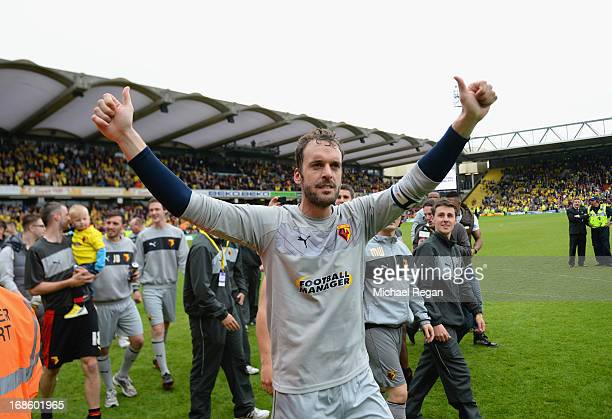 Manuel Almunia pf Watford celebrates after the npower Championship Play Off Semi Final: Second Leg between Watford and Leicester City at Vicarage...