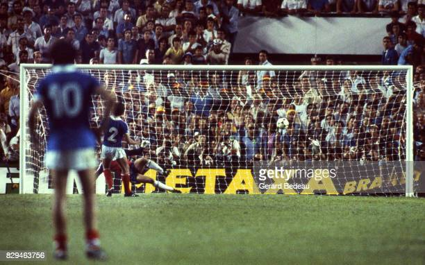 Manuel Amoros of France score a penalty during of the game Semi Final World Cup match between West Germany and France 8th July 1982 in Ramon Sanchez...