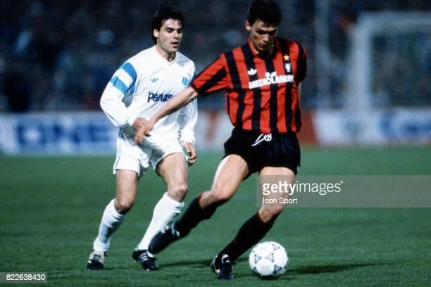 Manuel AMOROS / Paolo MALDINI Marseille / Milan AC 1/4 finale Coupe d'Europe des Clubs Champions Stade Velodrome Marseille