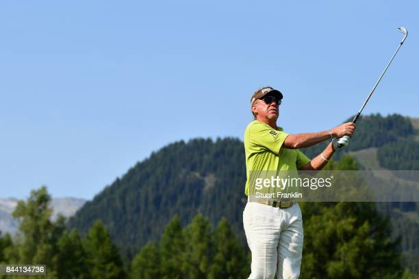 Manuel Angel Jimenez of Spain on the 12th during Day Two of the 2017 Omega European Masters at CranssurSierre Golf Club on September 8 2017 in...