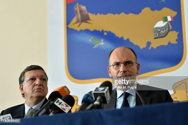 Manuel Barroso President of the European Commission and Enrico Letta the Italian Prime Minister attend a press conference at Aeronautica Militare...