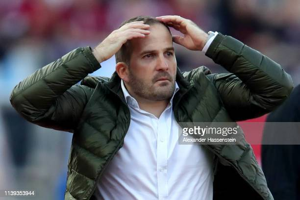 Manuel Baum, head coach of Augsburg reacts during the Bundesliga match between 1. FC Nuernberg and FC Augsburg at Max-Morlock-Stadion on March 30,...